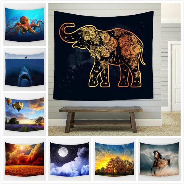 130X150 Cm Pendek Mewah Permadani Hewan Gajah India Serigala Pola Kupu-kupu Hiasan Dinding Yoga Mat Licorne Handuk Pantai