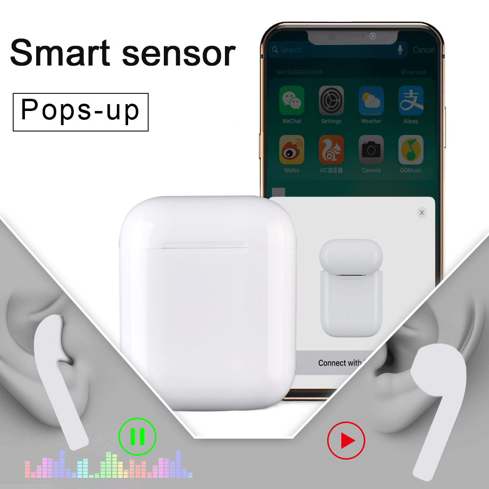 i77 <font><b>TWS</b></font> Smart Sensor Pop-up 1:1 Replica <font><b>Bluetooth</b></font> Earphone 6D Super Bass Wireless <font><b>5.0</b></font> Earphone PK i12 <font><b>i10</b></font> i20 i30 <font><b>TWS</b></font> PK W1 Chip image