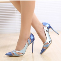 2015 High Heeled Pointed Toe Shoes Red Marry Plus Size Single Shoes Star Women S Shoes