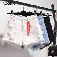 ALICENO NEW 2019 Plus Size Summer Women Loose Light Color White/blue/black Shorts Jeans Hole Low Waist Shorts