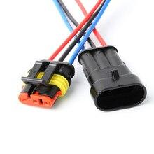 10/50/100 sets/lot AMP TE 3 Pin/Weg Wasserdichte Superseal Elektrische Verdrahtung Stecker Stecker mit 0,5 1,5mm Draht Kabel Zopf