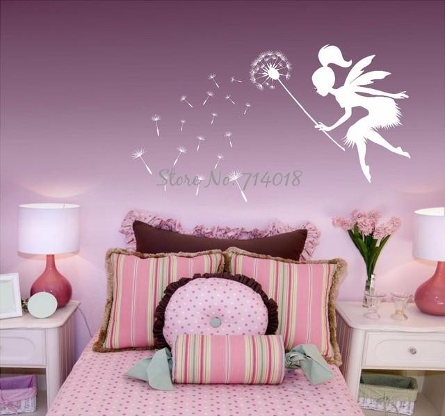 Fairy Blowing Dandelions Wall Decal Dandelion Seeds Wall Art Kids Nursery  Wall Mural Large Size Vinyl