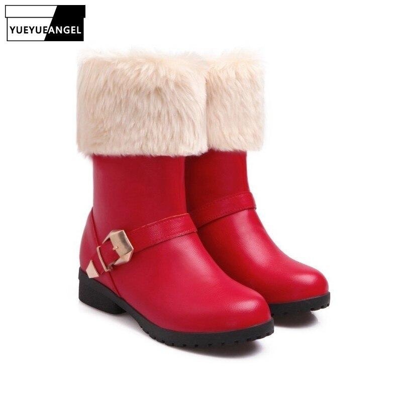 Vintage fourrure garniture femmes hiver neige bottes confort talon bas doublure polaire épaissir chaud dame bottines rétro boucle femme chaussures