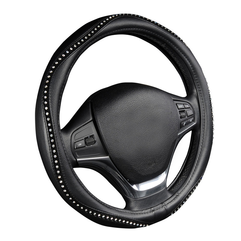 EUROTYPER Luxury Ice Crystal Bling Black Leatherette Steering Wheel Cover
