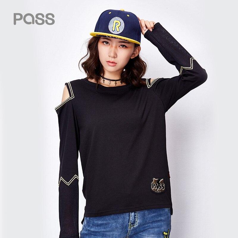 PASS Summer Autumn T Shirt Women Fashion Hollow Out Open Shoulder Cotton Shirt Black White Long Sleeve Animal Print Shirts