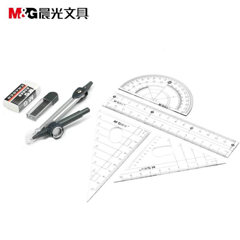 Angle Ruler and Bow compass and Protractor set M&G ACS90808 Standard stationery wholesale 12 set/lot Free Shipping 300mm multifunctional combination square ruler stainless steel horizontal removable square ruler angle square tools metal ruler