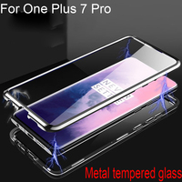 Luxury Magnetic Adsorption Case For One Plus 7 Pro Metal Frame Clear Tempered Glass Cover For One Plus 7Pro Magnetic Flip Cases