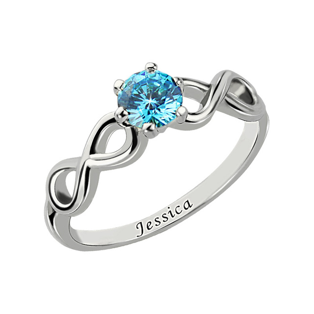 13e285226f4d56 Wholesale Personalized Birthstone Infinity Ring Silver Handmade Engraved Name  Ring Infinity Jewelry Mother Day's Gift