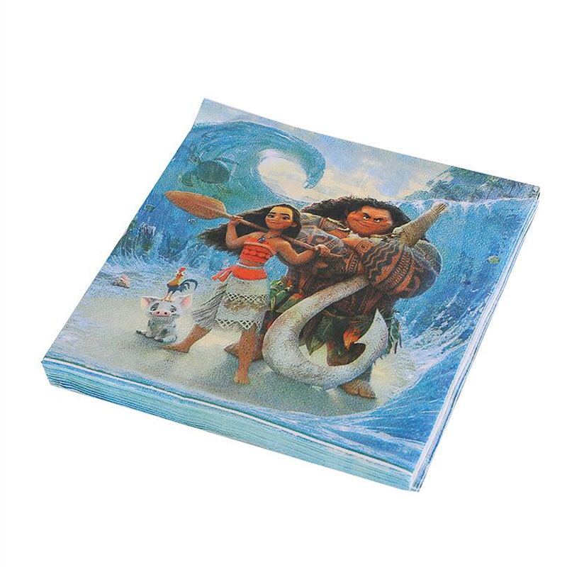 Birthday Party Supplies 20pcs Moana Party Disposable Paper Napkins Baby Kids 1st Birthday Decoration Party Favor Supplies