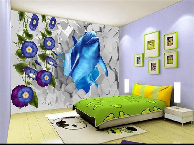 Behang Kinderkamer Vissen : Foto behang custom 3d mural kinderkamer blauw walvis vis