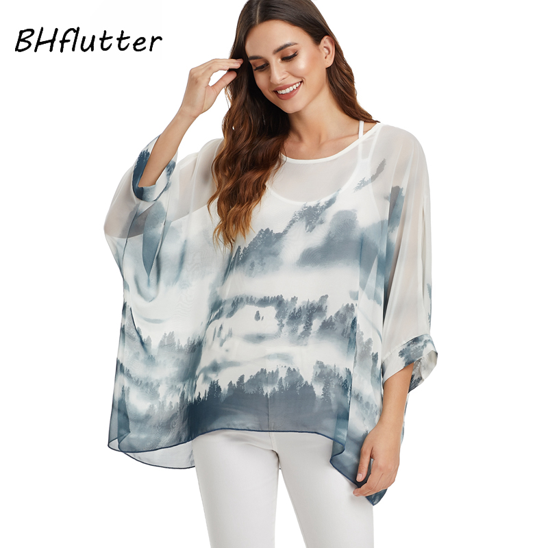 BHflutter White Blouse Shirt Women Fashion Batwing Casual Summer Tops Tees Ladies Print Chiffon Blouses Streetwear Plus Size
