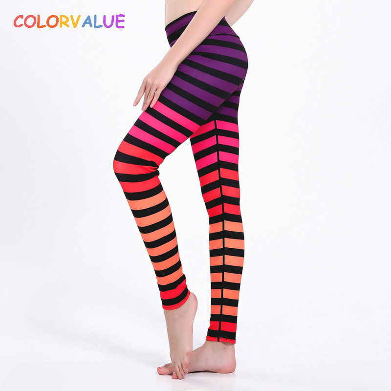 Colorvalue 3D Striped Yoga Pants Women High Waist Running Tights Fitness Leggings Flexible Athletic Exercise Sport Leggings