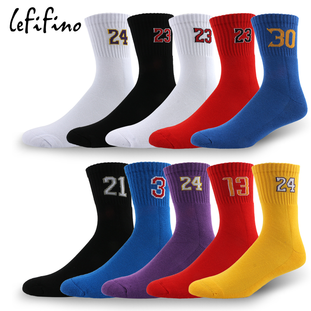 LeFifino Men's Combed Cotton Towel Bottom Socks Jacquard Number Thick Socks Profession Male Basket No. Compression Socks Le01630