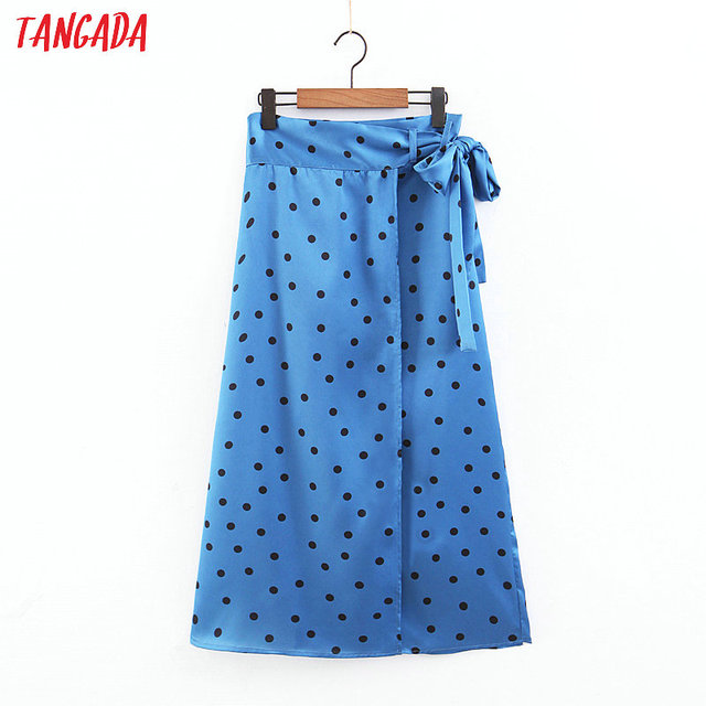 Tangada mujeres polka dot azul falda lazo fajas chic mujer sexy dama mediados ternero faldas mujer SL84