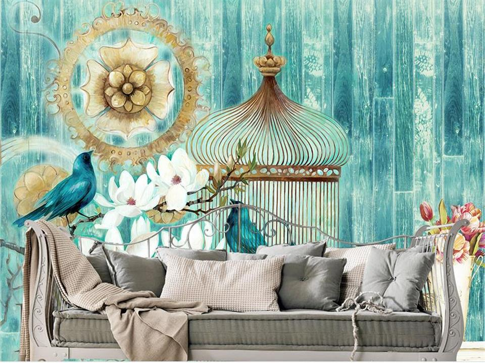 custom 3d photo wallpaper mural living room flower bird retro wooden wall 3d painting sofa TV background wall non-woven sticker custom photo 3d wallpaper mural non woven the wolf in the night background wall painting living room wallpaper for walls 3d