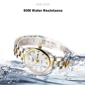 Image 4 - GUANQIN Fashion Couple Watch Set Stainless Steel Men Women lovers Watch Luxury Blue Quartz Watch Women Clock Ladies Wrist Watch