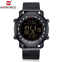 NAVIFORCE Men Digital Sports Watch Black Mesh Stainless Steel Outdoor Electronic Led Ultra Thin Waterproof LED