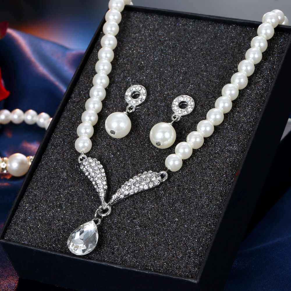 AILEND Imitation Pearl Water Drop Jewelry Sets Necklaces Silver Color Crystal Earrings Bracelet for Women Statement Bijoux Femm