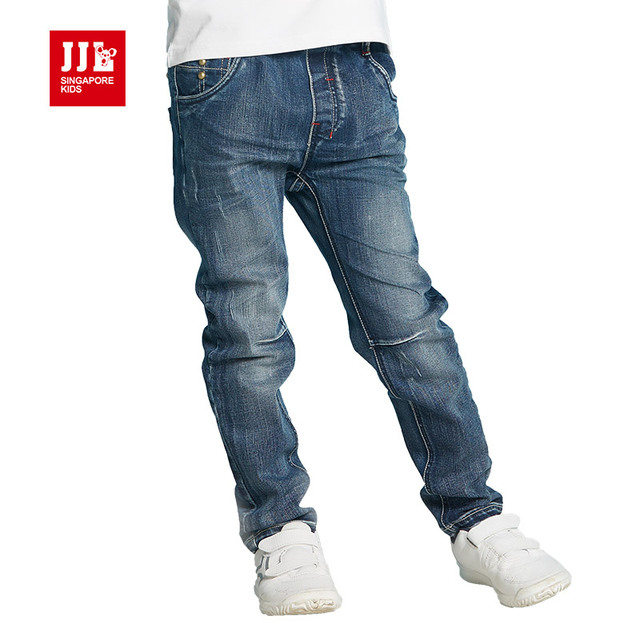winter boys ripped jeans kids denim jeans boys clothing boys pants dark blue children trousers casual solid color
