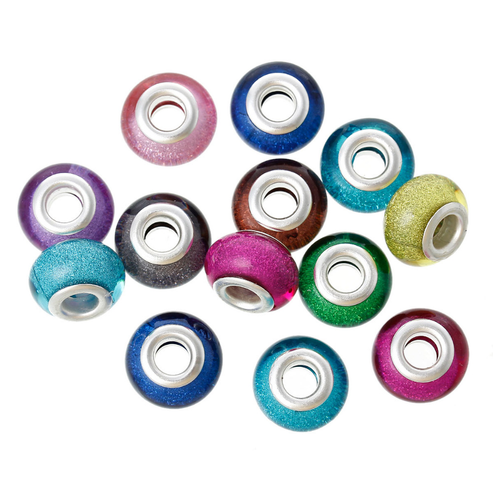 """Resin European Style Charm Beads Round At Random Glitter About 14mm( 4/8"""") x 9mm( 3/8""""),Hole: Approx 5.1mm,20 PCs 2015 new"""