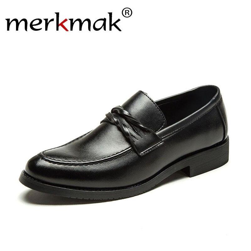 Merkmak Luxury Spring Men Loafers 2019 Autumn Microfiber Men Leather Shoes Slip On Black Party Wedding Size 38 44 Man Dress Shoe