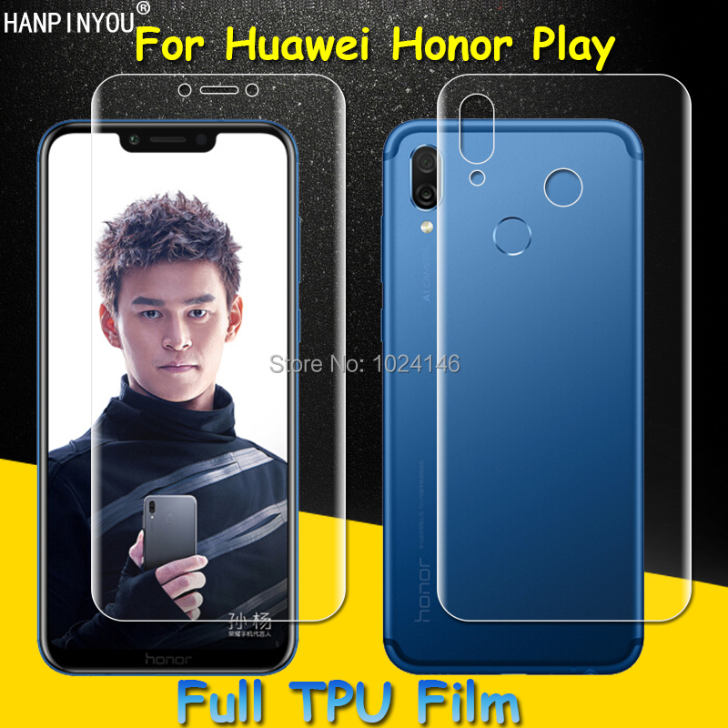 Front/Back Full Coverage Clear Soft TPU Film Screen Protector For Huawei Honor Play , Cover Curved Parts (Not Tempered Glass)