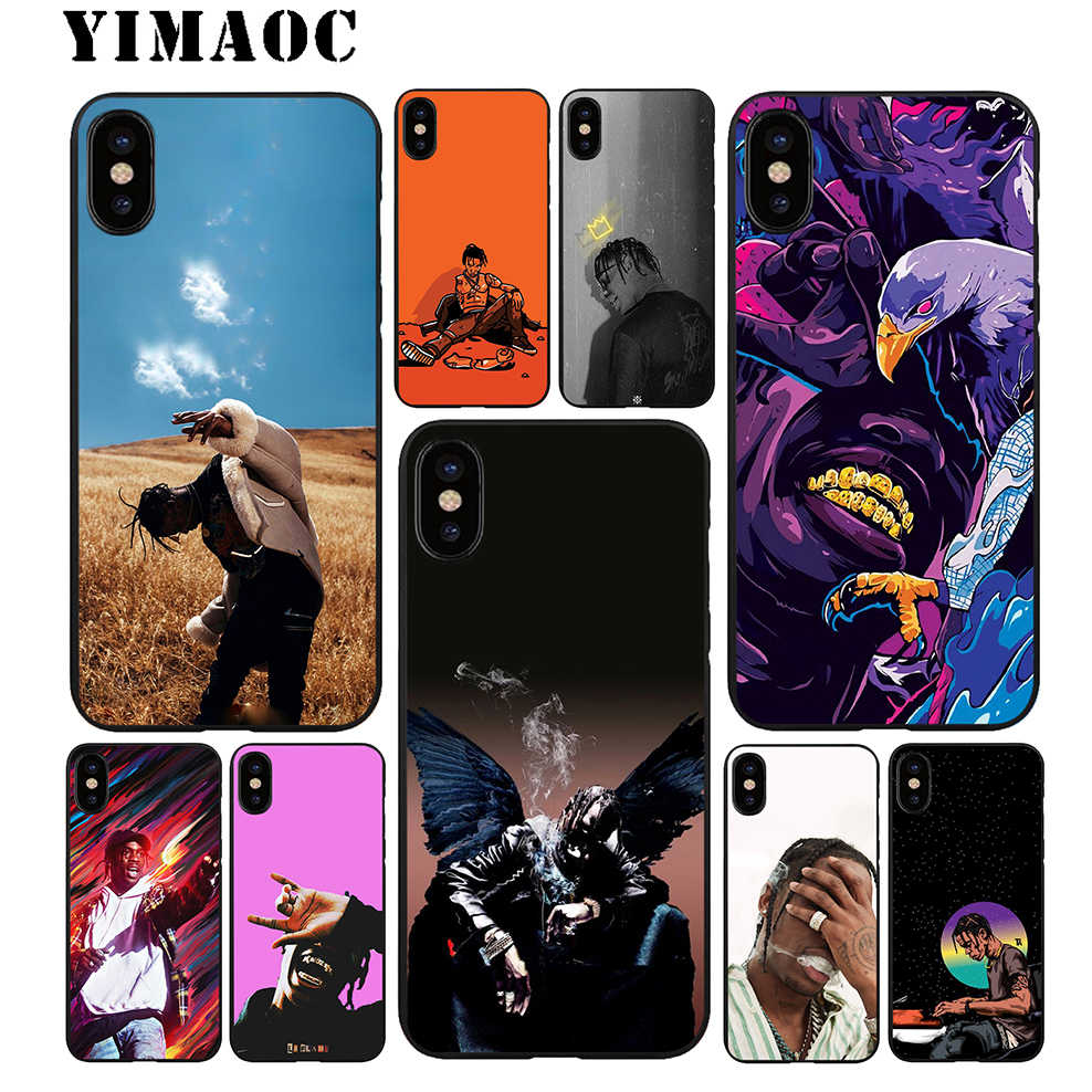 YIMAOC Travis Scott Hip Hop Soft TPU Zwart Siliconen Case voor iPhone X of 10 8 7 6 6S plus 5 5S SE Xr Xs Max