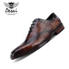 Desai/обувь из натуральной телячьей кожи с квадратным носком и тиснением под крокодиловую кожу; мужская обувь ручной работы; оксфорды на плоской подошве со шнуровкой