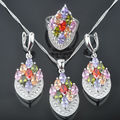 Gracious Multicolor Stone Zirconia Woman's 925 Sterling Silver Jewelry Sets Earrings/Pendant/Necklace/Rings Free Shipping QZ053
