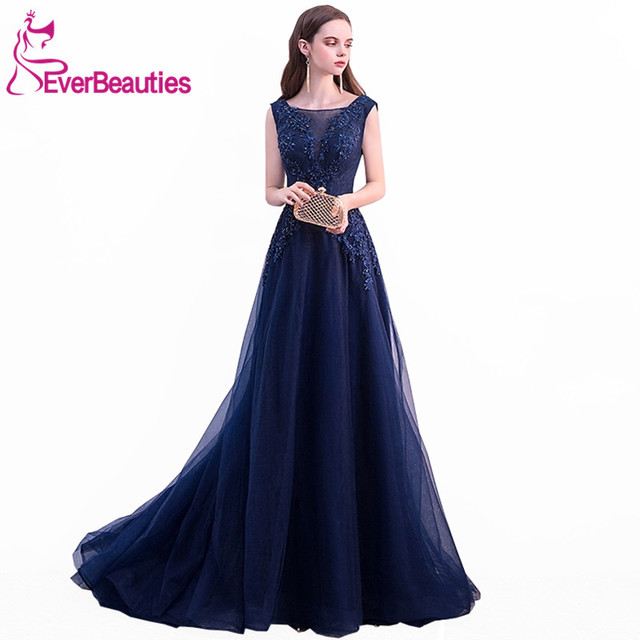3bae40b9af0 Navy Blue Evening Gowns 2019 New Evening Dresses Tulle with Lace Appliqued  Sleeveless Robe De Soiree Prom Dress Abiye