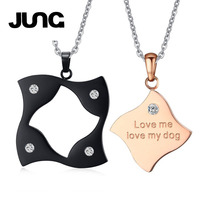 JUNG 2Pcs Set Couple Lover Gift Zircon Square Puzzle Matching Stainless Steel Necklace Chain Charms Collar