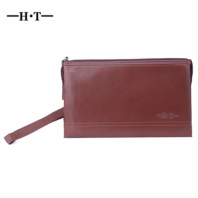 HT 100% Genuine Leather Handbags Mens Clutches Luxury Brand Vintage Style Handy Bag Male Purses Brown Carteria Rivet ClutchHT 100% Genuine Leather Handbags Mens Clutches Luxury Brand Vintage Style Handy Bag Male Purses Brown Carteria Rivet Clutch