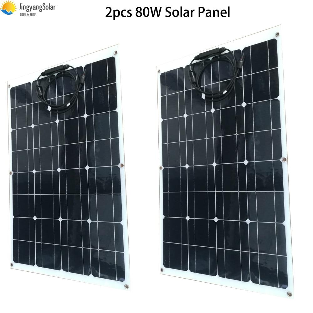 2pcs 80w flexible solar panel 160w semi monocrystalline solar cell solar panel for 12V solar battery