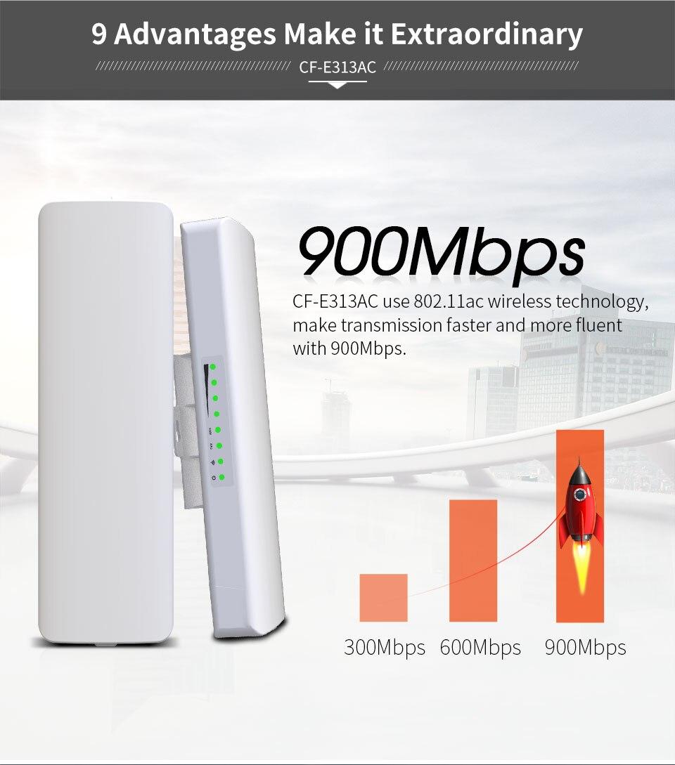 Répéteur/routeur WIFI extérieur 900 Mbps/pont de point d'accès Poe 48 V amplificateur d'antenne wifi sans fil d'extension de gamme WIFI 12dbi AP