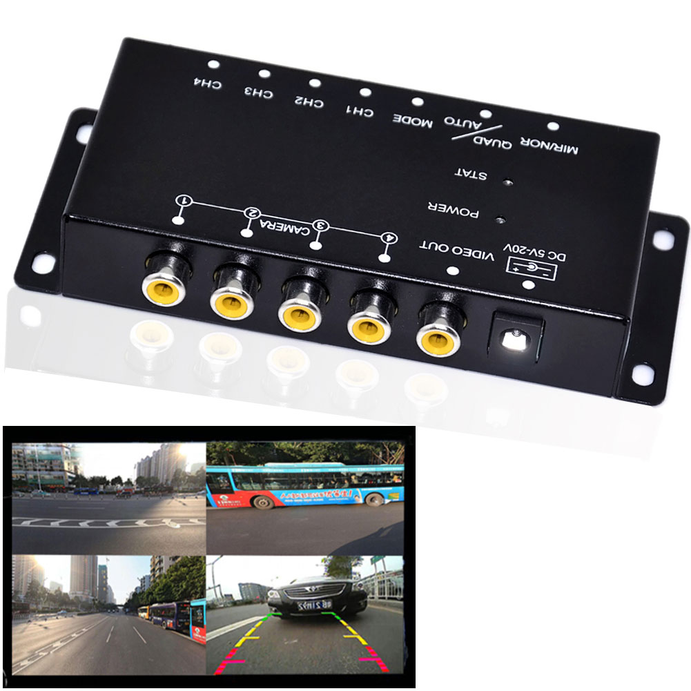 Contrôle IR 4 caméras de contrôle vidéo caméras de voiture boîtier de combinaison de commutateur d'image pour vue de gauche vue à droite boîte de caméra de stationnement avant arrière