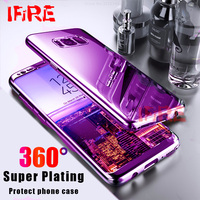 360 Plating Mirror Case For Samsung Galaxy S8 S9 Plus Bling Full Cover Case For Galaxy S7 edge Note 8 With Screen Protector Film