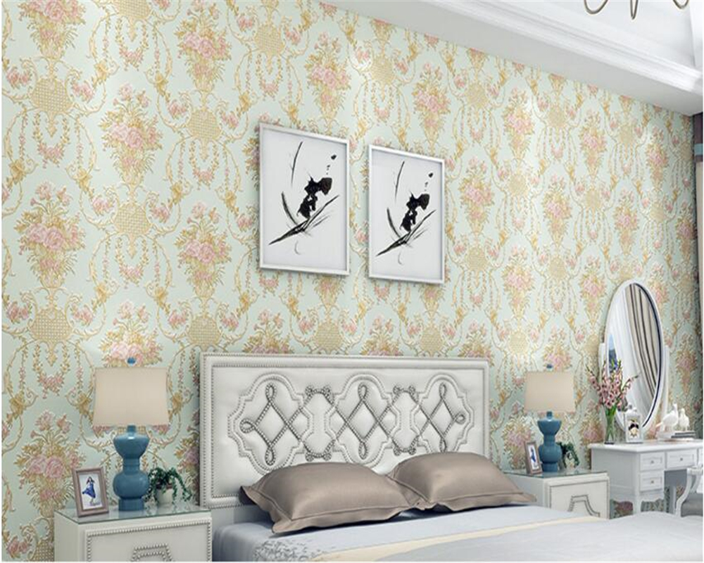 beibehang American Pastoral flower 3D stereo AB collocation pure plain non-woven wall paper living room backdrop 3d wallpaper beibehang wall paper pune environmental non woven american rural countryside flower painting style backdrop wallpaper bedroom