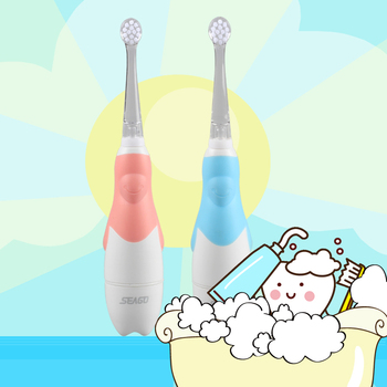Seago Kids Electric Toothbrush Sonic Battery With Led Light Oral Hygiene 3 Pcs Brush Heads Dental Hygiene Replacement Sg513