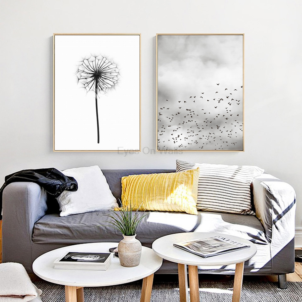 Nordic dandelion painting poster print scandinavian canvas for Interieur home decor