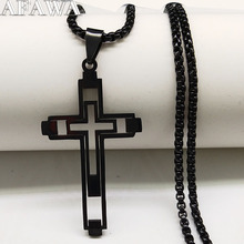 2019 Fashion Cross Stainless Steel Necklace for Men Black Color Choker Jewelry acero inoxidable N18797