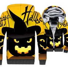 Happy Halloween Jacket Pumpkin Hoodie Men Funny Hooded Sweatshirt Winter Thick Fleece Warm Zip up 3D Print Jack-O-Lantern Coat
