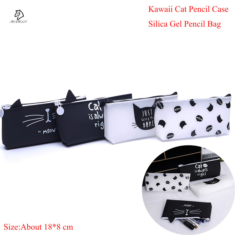 Cute Cat Pencil Case Silica Gel School Supplies Bts Stationery Gift School Kawaii Pencil Box Pencil Case Pencil Bag School Tools kawaii cartoon girls school pencil case with lock cute pu leather large capacity pencil bag gift bts pen box stationery supplies