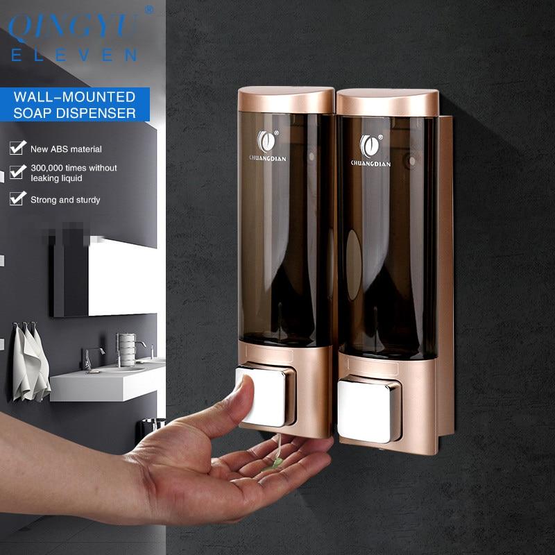 QINGYU ELEVEN Wall Mounted Soap Dispenser Pump Double Bathroom Hotel Shampoo Lotion Liquid Hand Soap Dispenser