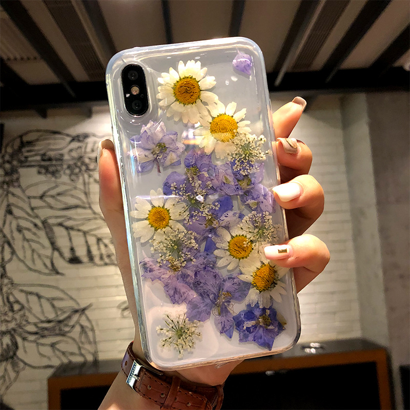 Dried Flower Phone Iphone X Transparent Soft TPU Handsome Pressed Back Cover For Iphone X 8 7 6 6S Plus Cases