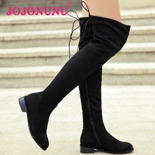 women real genuine leather flat over knee boots fashion long boot winter botas feminina brand footwear shoes R7227 size 34-39