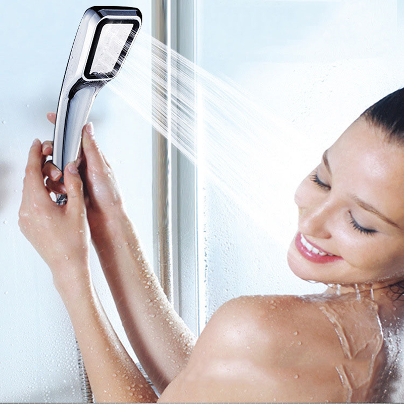 PVIVLIS Shower Bathroom High Prssure Shower Head Handheld Water Saving Shower Head Rainfall Square Chrome Plated Ducha Chuveiro