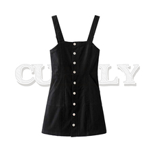 CUERLY 2019 women denim mini dress single breasted adjustable straps backless female casual dresses vestidos