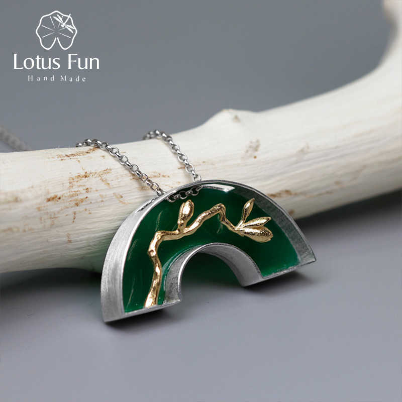 Lotos zabawy prawdziwe 925 srebro Handmade Fine Jewelry klasyczny orientalny Element łuk most projekt Pedant bez naszyjnik