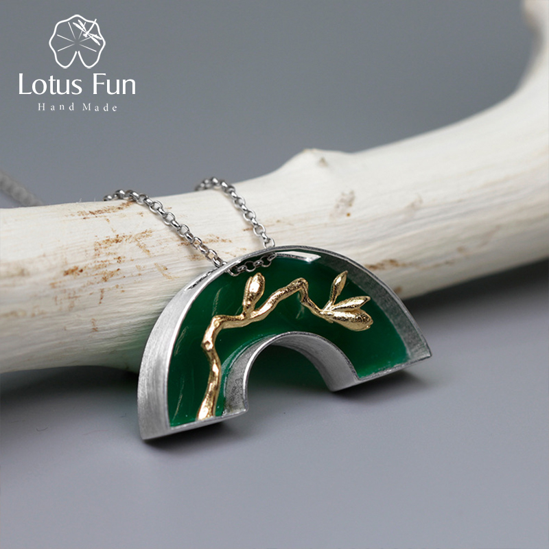 Lotus Fun Real 925 Sterling Silver Handmade Fine Jewelry Classic Oriental Element Arch Bridge Design Pedant without NecklaceLotus Fun Real 925 Sterling Silver Handmade Fine Jewelry Classic Oriental Element Arch Bridge Design Pedant without Necklace