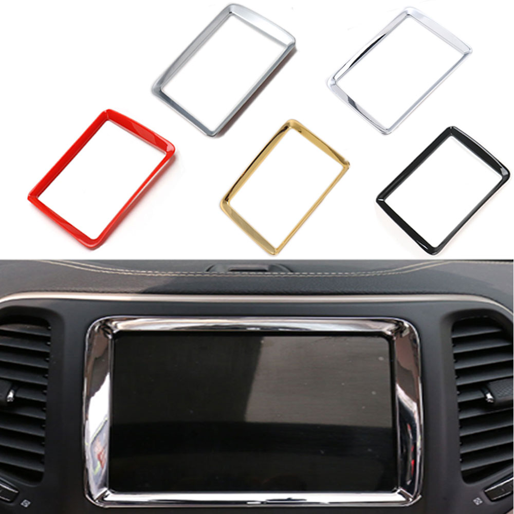 Car Dashboard Console GPS Navigation Frame Cover Trim Chrome ABS Interior Car Styling Decor Molding For Jeep Cherokee 2014-2016
